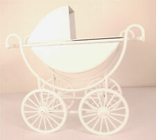 Dollhouse Furniture Baby Pram White Metal Baby Buggy Carriage