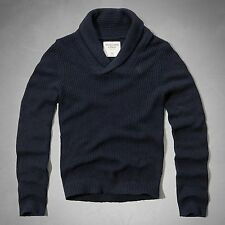 NWT Abercrombie & Fitch Mens Hunters Pass Navy Blue Pullover Sweater Large L New