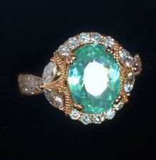 18K ROSE GOLD 4.28 CT. CERTIFIED GIA  NEON PARAIBA TOURMALINE DIAMOND RING!!