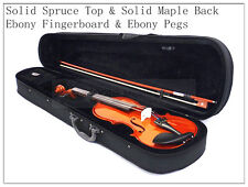 1/2 New Solid Wood Violin /Bow /Rosin /Case /Free U.S Shipping