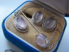 Absolutamente hermoso colgante de plata esterlina pendientes de Cuarzo Rosa Conjunto de pin de palo