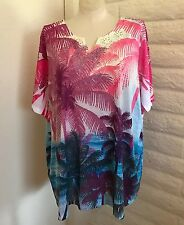 NEW  Catherines 4X Pink Blue Tropical Beach Palm Trees Jewels Lace Blouse Tunic