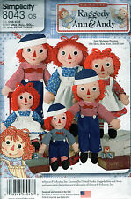 """8043 NEW RAGGEDY ANN & ANDY DOLL MAKING Pattern 15"""" 26"""" & 36"""" DOLLS Simplicity"""