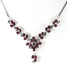 Silver 925 Natural Raspberry Rhodolite Garnet Cluster Necklace 18.25 Inch