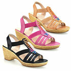 Ladies Womens Mid Wedge Heel Wide Fit Casual Comfort Walking Sandals Shoes Size