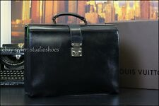 AUTHENTIC LOUIS VUITTON LV Doctor Dr Pilot Prof Briefcase Black Leather Bag +BOX