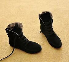 Women's Ankle Boots Nubuck Leather Moccasins Lace-Up High top Shoes UK Size 5-7