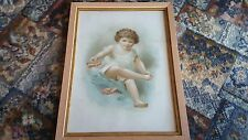 Late 19thc Chromolithograph 'This Little Piggy Had Roast Beef' in Original Frame