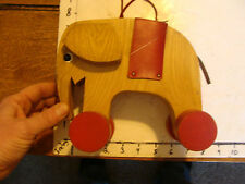 vintage wooden HABA Elephant pull toy, missing one ear
