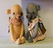 OOAK PAIR of primitive style bears. vintage bear. old grubby bear look