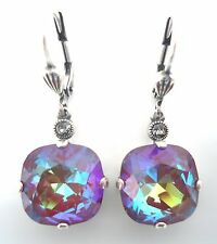 CATHERINE POPESCO 12mm Blue Ruby Swarovski Crystal Silver Earrings 1 1/4""