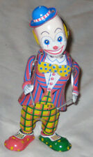 "Tin Multicolor 8"" Dancing Clown With Drum Sticks Toy Collectable"