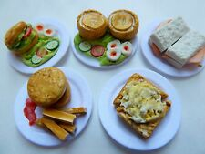 **SALE!!** 5 X MIXED PLATES OF FOOD FOR 12TH SCALE DOLLS HOUSE E