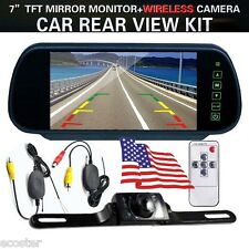 "7"" TFT LCD Mirror Monitor & Wireless Backup Camera Night Vision Rear View System"