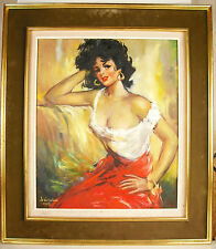 Jeune femme espagnole De Kerros 1963 Young Spanish woman paint Huile sur toile