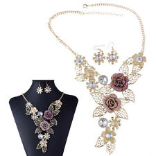 Retro Hollow Flower Pendant Choker Bib Necklace With Earrings Women Jewelry Set