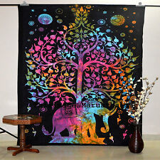 Tree Elephant Indian Tapestry Wall Hanging Bohemian Bedspread Decor Tapestries