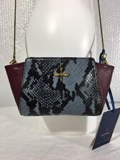 POUR LA VICTOIRE CROSS BODY ZIP PURSE HAND BAG RED BLACK LEATHER SMALL NEW! $195