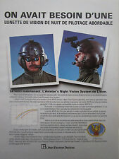 1/85 PUB LITTON NACHTSICHTBRILLE ANVIS NIGHT VISION PILOT HELICOPTER FRENCH AD