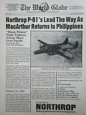 1/1980 PUB NORTHROP P-61 BLACK WIDOW NIGHT FIGHTER MAC ARTHUR ORIGINAL AD