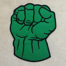 SUPERHERO HULK FIST GREEN HAND EMBROIDERY IRON ON PATCH BADGE
