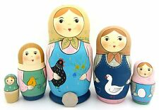 Genuine Russian stacking dolls 5 PASTEL YELLOW BLUE MATRYOSHKA & Chicken Goose