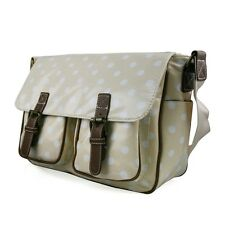 Nude Pink  Spot Floral Cross Body Oilcloth Saddle School Bag Messenger Purse