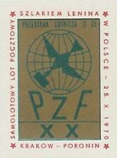 Poland label 1970 airplane Lenin trail