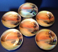 Noritake Six Small Bowls With Gilded Rims, Hand Painted Tree In the Meadow