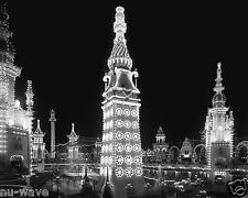 1905 Night Photo Luna Park One of Three Original Amusement Parks in Coney Island