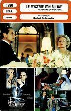 Movie Card. Fiche Cinéma. Le mystère Von Bulow / Reversal of fortune (USA) 1990