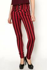 red black high waisted striped trousers size 6/8 BNWT rockabilly pin up goth emo