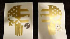 "(2x) 5"" Gold Subdued Punisher Skull USA Distressed Flag Sticker Die Cut Decal"
