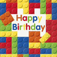 LEGO BUILDING BLOCKS HAPPY BIRTHDAY LUNCH NAPKINS (16) ~ Party Supplies Dinner