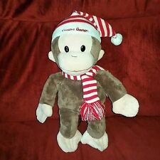 Universal Studios CURIOUS GEORGE Brown Plush Monkey Red White Striped Cap Scarf