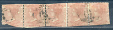 British Columbia & Vancouver Island #2, Used strip of 5 2 1/2d dull rose CV$1250
