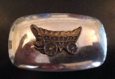 "Vintage Western Stagecoach On Silver Tone Belt Buckle 2.5""x 1 6/8"" USA"