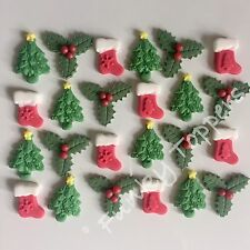 24 Piece Christmas Edible Sugar Cup Cake Decoration Topper Holly Tree Stocking