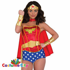 Womens Ladies Classic Wonder Woman Instant Fancy Dress Costume Accessory Kit