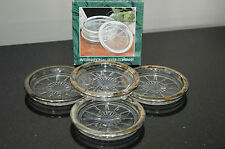 INTERNATIONAL SILVERPLATE BEADED RING CRYSTAL 4 PIECE COASTER SET IN BOX #A