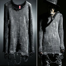 ByTheR Made Unique Casual Chic Grunge Custom Silver Painting Vintage Knit Top UK