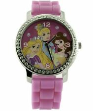 Disney Princess Pink Wrist Watch Round Rhinestone Soft Wirstband