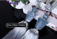 "15"" Luxury Tassel Curtain Tieback Holdback Window Decoration GREY SILVER PEWTER"