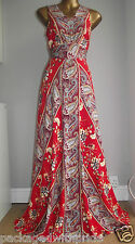 MONSOON BEAUTIFUL RED FLORAL PAISLEY MAXI SUMMER HOLIDAY BEACH WEDDING DRESS 12