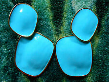 Kenneth Jay Lane Satin Gold Large Turquoise Drop Clip Earrings