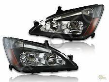 2003-2007 Honda Accord 2Dr Coupe 4Dr Sedan Black Headlights Headlamps RH & LH