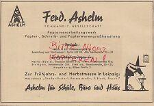 BERLIN, Werbung 1941, F. Ashelm Schreib-Papier-Verarbeitungs-Werk Messe Leipzig
