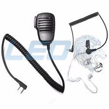 Speaker Mic + 3.5mm Earpiece + 2 Clear Earmolds for Kenwood 2-Pin Radios TK NX