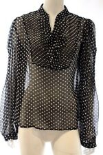 Ben Sherman Black White Spot Sheer Long Sleeve Shirt Blouse Top Size S