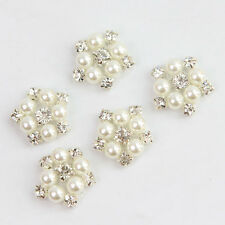Faux Pearl Clear Rhinestone Applique Trim Iron Sew On DIY Costume Flower Decor